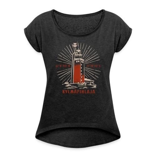 KYLMÄPIHJALAN MAJAKKA tekstiilit ja lahjatuotteet. - Naisten T-paita, jossa rullatut hihat