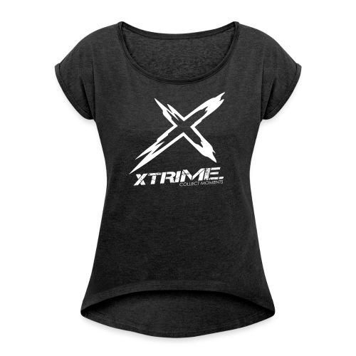 Spreadshirt XtriME Logo Whi png - Frauen T-Shirt mit gerollten Ärmeln