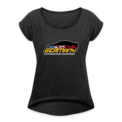 NASCAR WEISS KONTUR - Frauen T-Shirt mit gerollten Ärmeln