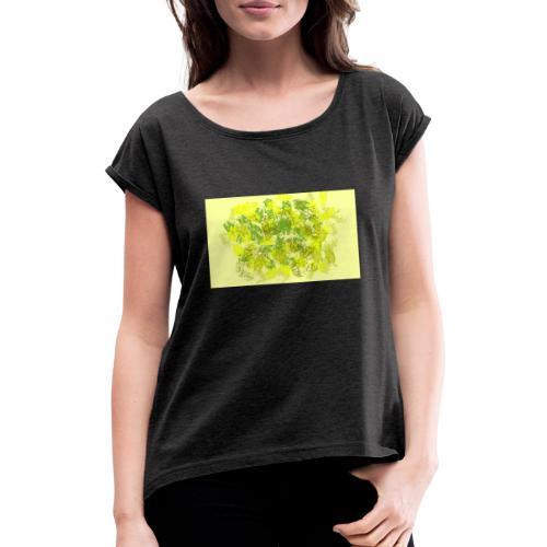 greenandyellow - Camiseta con manga enrollada mujer