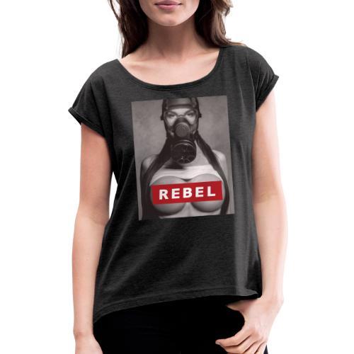 postapocalyptic rebel - Frauen T-Shirt mit gerollten Ärmeln
