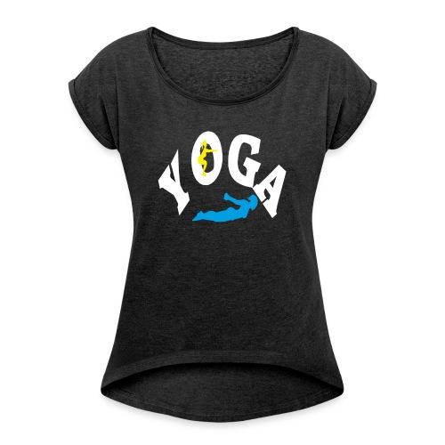 Yoga Schriftzug mit Posen Körperspannung Geschenk - Frauen T-Shirt mit gerollten Ärmeln