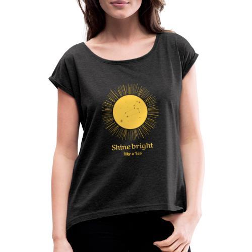 leo zodiac t shirt design maker 1426c - Dame T-shirt med rulleærmer