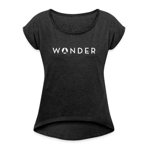 w@nder weiss - Frauen T-Shirt mit gerollten Ärmeln