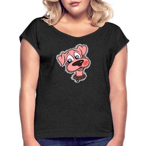 Hund zum Kuscheln - Frauen T-Shirt mit gerollten Ärmeln
