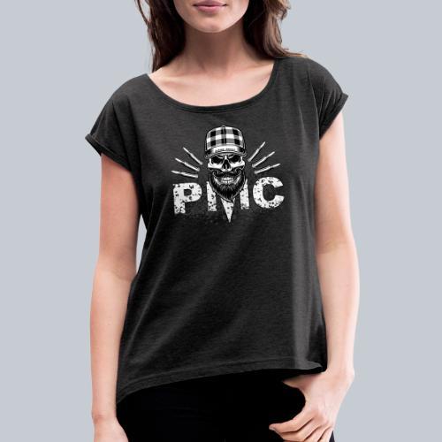 PMC Skull white - Frauen T-Shirt mit gerollten Ärmeln