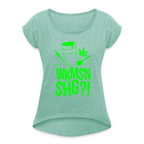 WKM$N$HG - Frauen T-Shirt mit gerollten Ärmeln