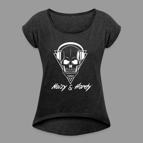 Noizy & Hardy weißes Logo - Frauen T-Shirt mit gerollten Ärmeln