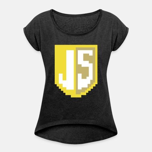 JavaScript Pixelart Logo - Frauen T-Shirt mit gerollten Ärmeln