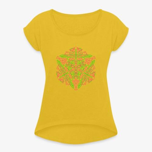 Neon Star - Mandala - Frauen T-Shirt mit gerollten Ärmeln