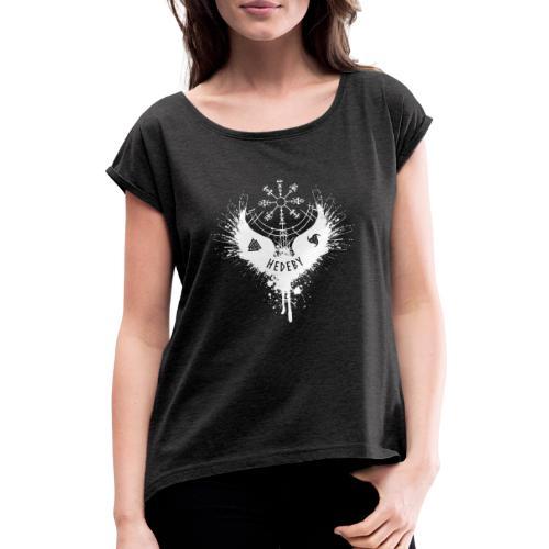 Wikinger Hedeby Vegvisir - Frauen T-Shirt mit gerollten Ärmeln