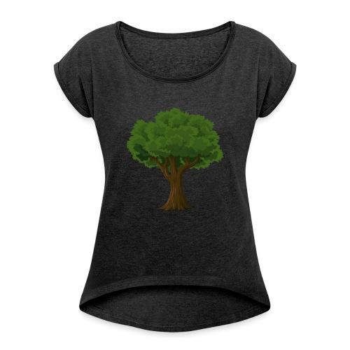 Ek träd - T-shirt med upprullade ärmar dam