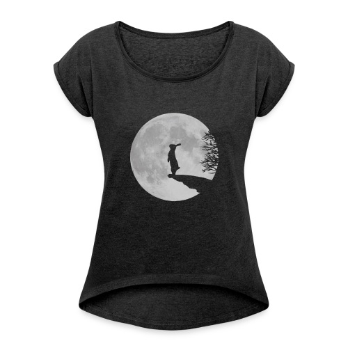 rabbit_wolf-png - Women's T-Shirt with rolled up sleeves