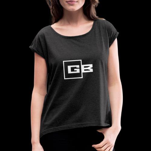 Valkoinen Gymbox logo - Naisten T-paita, jossa rullatut hihat