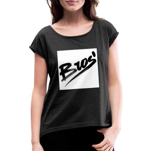 bros - T-shirt med upprullade ärmar dam