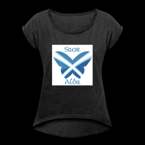 Saor Alba butterfly - Women's T-Shirt with rolled up sleeves