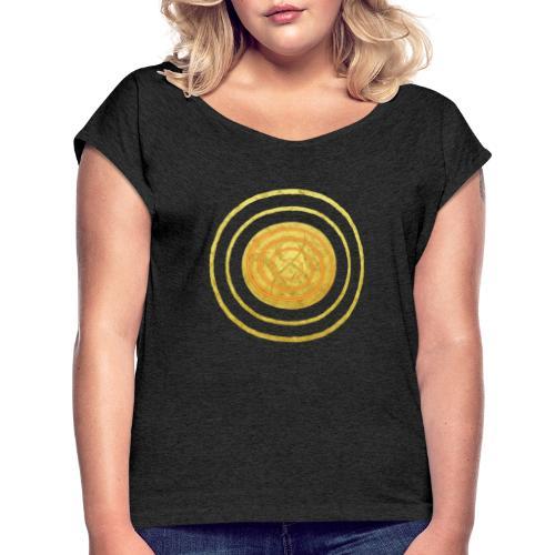 Glückssymbol Sonne - positive Schwingung - Spirale - Frauen T-Shirt mit gerollten Ärmeln