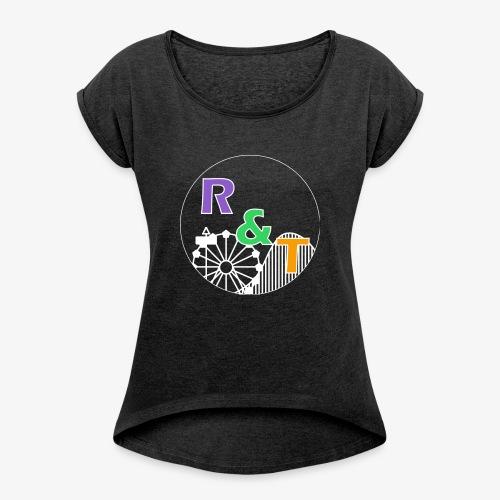 *Limited Edition* Robin & Thomas Merch Wit - Vrouwen T-shirt met opgerolde mouwen