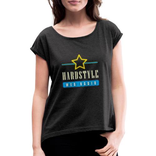 hardstyle webradio logo - Vrouwen T-shirt met opgerolde mouwen