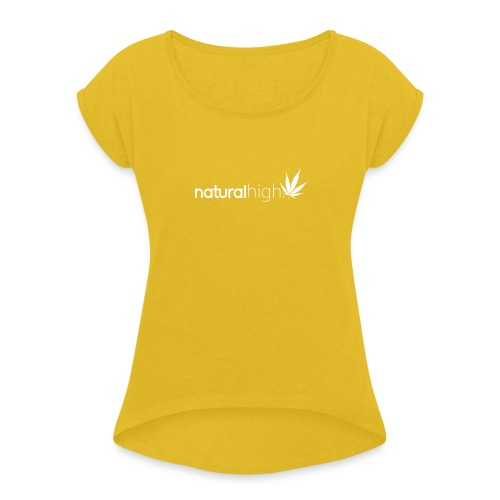 mayb now png - Women's T-Shirt with rolled up sleeves