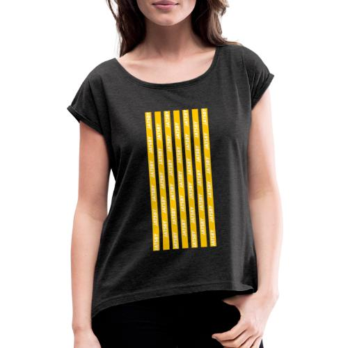 JY Stripes Yellow - Frauen T-Shirt mit gerollten Ärmeln