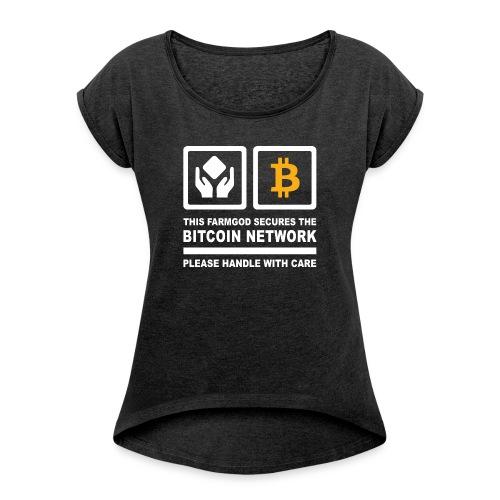 SECURE THE NETWORK - Frauen T-Shirt mit gerollten Ärmeln