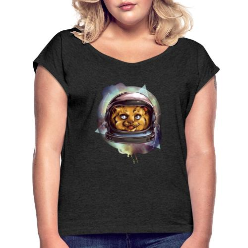 Cute astronaut kitten - Women's T-Shirt with rolled up sleeves