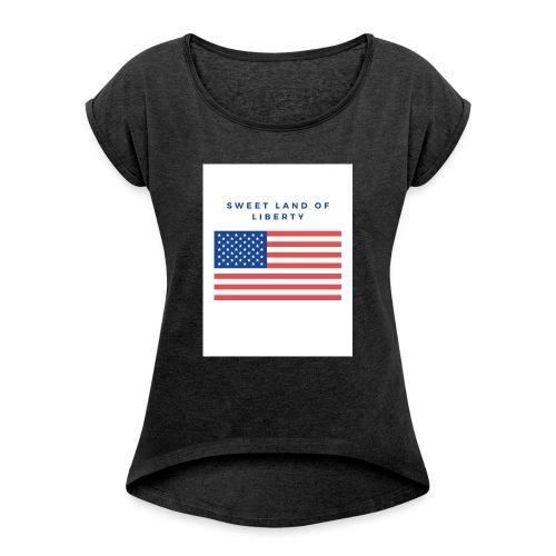 drapeau usa - T-shirt à manches retroussées Femme