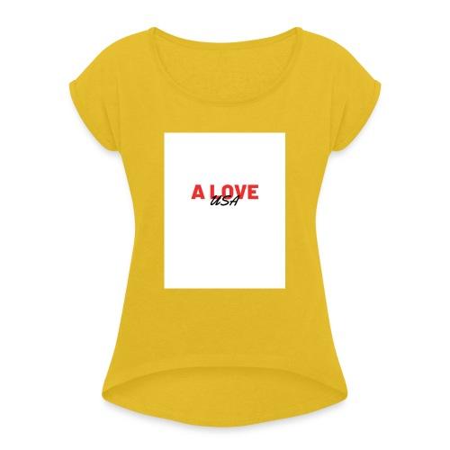 a love usa - T-shirt à manches retroussées Femme