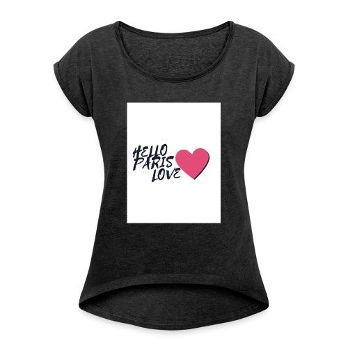 hello paris love 2 - T-shirt à manches retroussées Femme