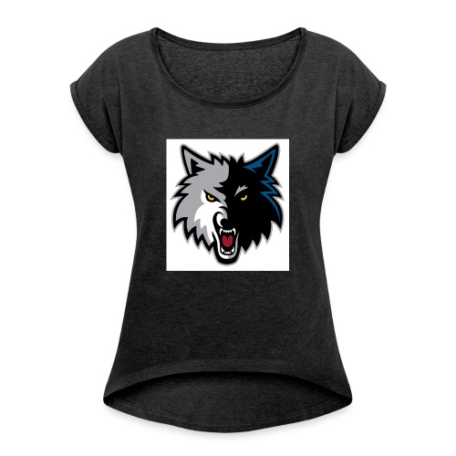 minnesota-timberwolves-logo - Women's T-Shirt with rolled up sleeves