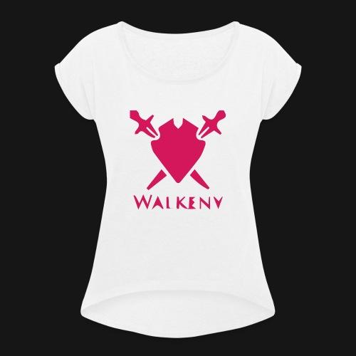 Das Walkeny Logo mit dem Schwert in PINK! - Frauen T-Shirt mit gerollten Ärmeln