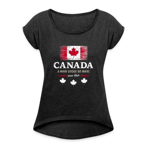 Canada Kanada Amerika maple leaf Flagge Fahne - Women's T-Shirt with rolled up sleeves