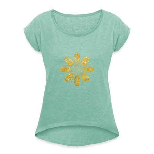 Inoue clan kamon in gold - Women's T-Shirt with rolled up sleeves