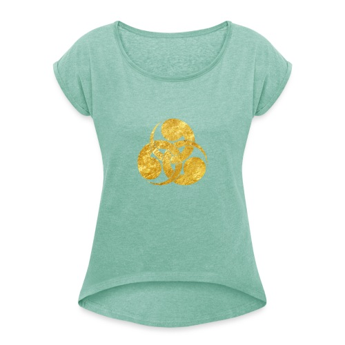 Tadpole Mon Japanese samurai clan - Women's T-Shirt with rolled up sleeves