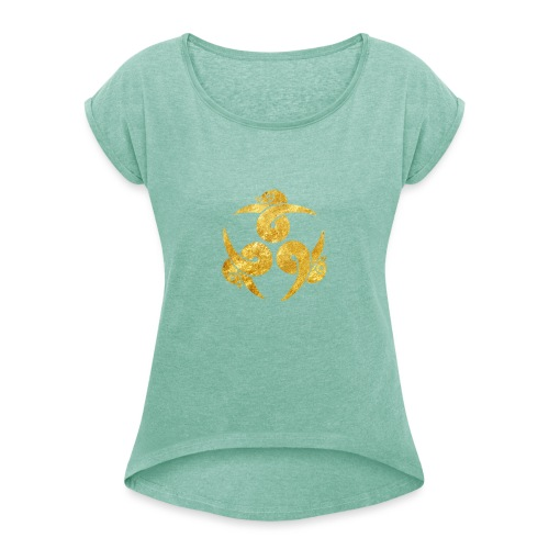 Three Geese Japanese Kamon in gold - Women's T-Shirt with rolled up sleeves