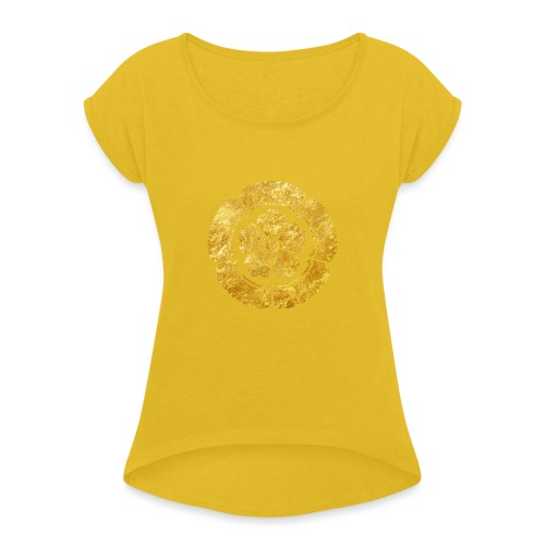 Oda Mon Japanese samurai clan faux gold on black - Women's T-Shirt with rolled up sleeves