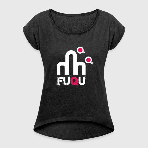 T-shirt FUQU logo colore bianco - Maglietta da donna con risvolti