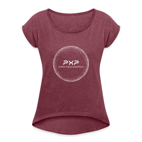white logo transparent 2x - Women's T-Shirt with rolled up sleeves