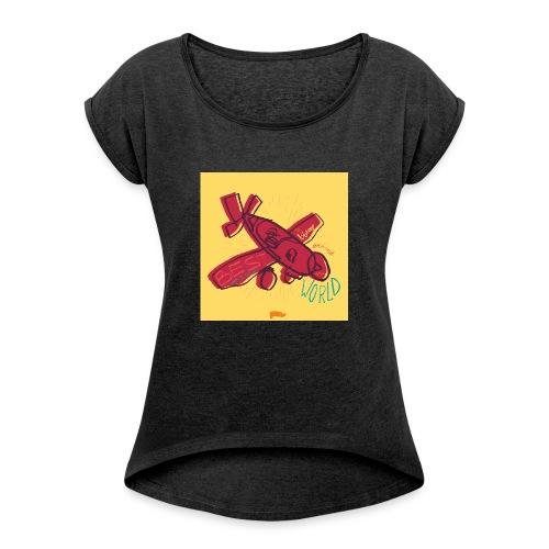 avion - T-shirt à manches retroussées Femme