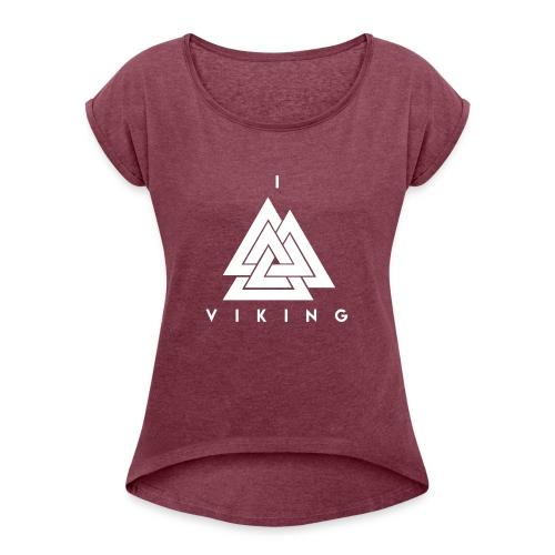 I lov Viking White - T-shirt à manches retroussées Femme