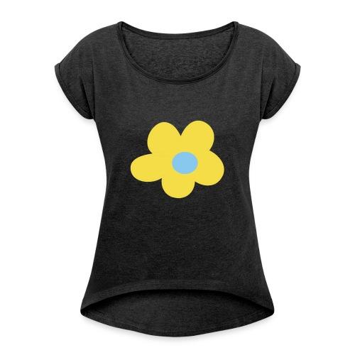 Kinder Comic - Blume - Frauen T-Shirt mit gerollten Ärmeln