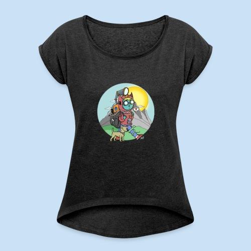 Abenteuer - Frauen T-Shirt mit gerollten Ärmeln