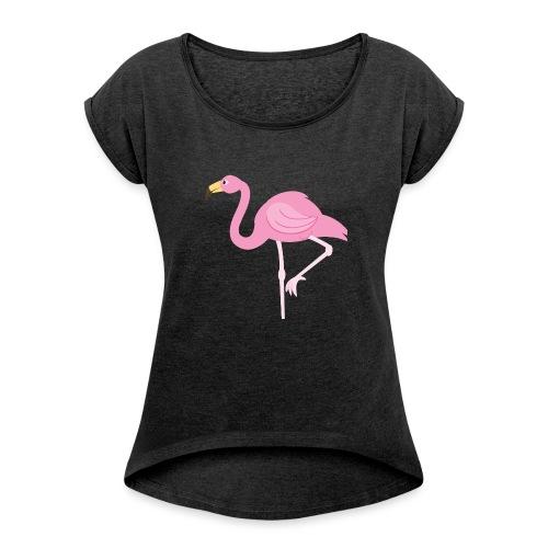 Flamingo - Vrouwen T-shirt met opgerolde mouwen