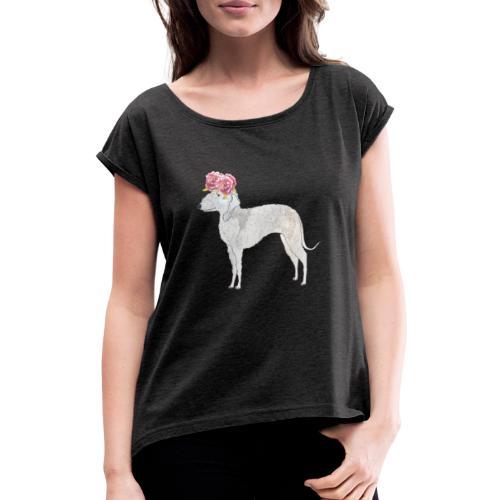 bedlington terrier with roses - Dame T-shirt med rulleærmer