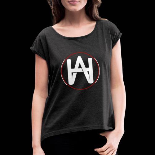 Hombre Alpha Logo en Blanco sobre Negro - Camiseta con manga enrollada mujer