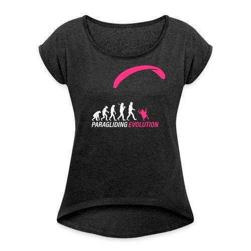 Paragliding Evolution - Frauen T-Shirt mit gerollten Ärmeln