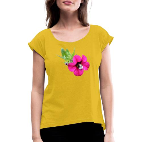 Miljoonakello ja kimalainen - Naisten T-paita, jossa rullatut hihat