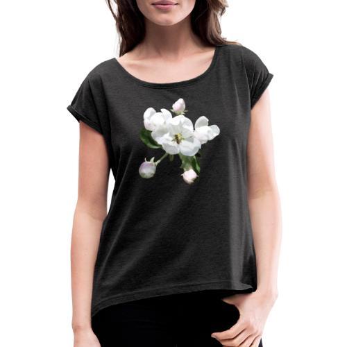 Omenankukka ja kukkakärpänen - Naisten T-paita, jossa rullatut hihat