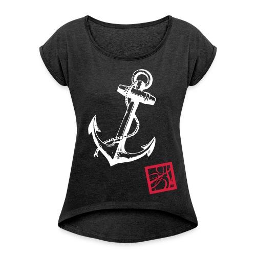 stroke S vektor - Frauen T-Shirt mit gerollten Ärmeln